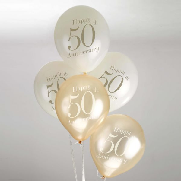 Vintage Romance Ivory & Gold 50th Anniversary Balloons (8)